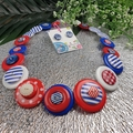 Nautical - Red Blue white- Button Necklace - Earrings