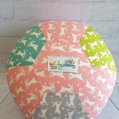Balloon Ball: Bunnies, Pink with Moss, Teal & Grey.