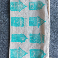 Unlined block printed zipper pouch | pencil case