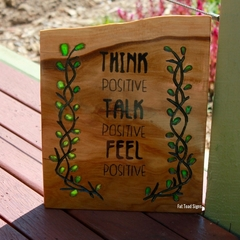 Think Positive Reclaimed Timber Sign