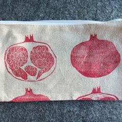 Unlined block printed zipper pouch | makeup bag, pencil case