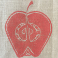 pink lady apple | block printed linen table runner