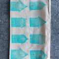 Unlined block printed zipper pouch | pencil case, reusable snack bag, zipper