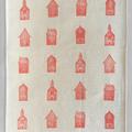 block printed linen table runner, block printed fabric, terracotta houses