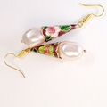 Enamel and Czech glass pearl earrings