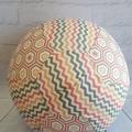 Balloon Ball: Chevron & Hexie in Peach, Pink & Grey tones.