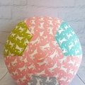 Balloon Ball: Bunnies, Pink with Moss, Teal & Grey.