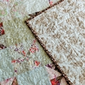 Lap quilt/Couch throw/Table Topper. Country cottage style quilt, red brown cream
