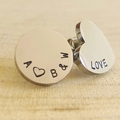 Asymmetric Earrings, Hand Stamped Studs, Name Earrings, Personalised Jewellery