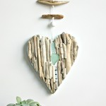 Driftwood heart with bead detail wall hanging