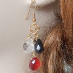 gold hooked earrings with teardrop beads