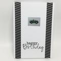 Birthday Card - Cross stitched Car, Green