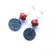 Grid round sterling silver and polymer clay earrings