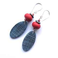 Grid oval sterling silver and polymer clay earrings