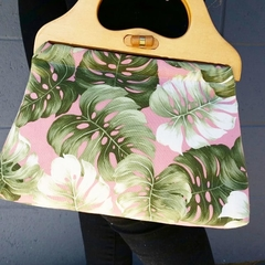 Leaves on Pink Handbag