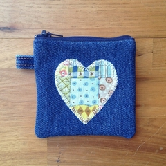 Upcycled Denim Purse - Patchwork Heart
