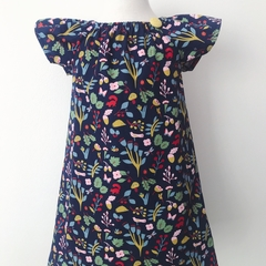 Size 2 - Smock Dress - Teal Floral - Cotton - Retro