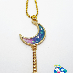 Galaxy Moon Wand Necklace