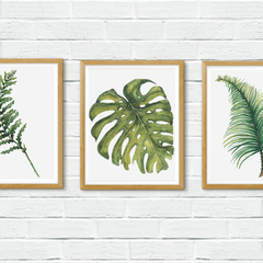 Set of 3 Printable Watercolour Leaves | Instant Download | A3 size Wall Art
