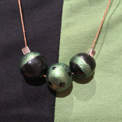 Two tone clay and metal beads