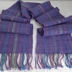 Fine Merino Wool Scarf,  Handwoven, Lilac
