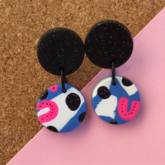 Blue Pink Party Earrings