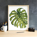 Set of 3 Printable Watercolour Leaves   Instant Download   A3 size Wall Art