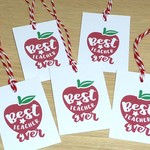 Set of 5 Best Teacher Ever gift tags