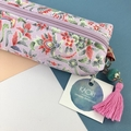 Kimono fabric makeup bag /pouch with beaded tassel- pale pink floral