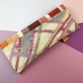 Glasses case, handcrafted Kimono fabric sunglasses red and pink stripe