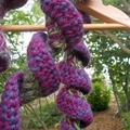 "crochet scarf ""mostly maroon"" made from wool mohair blend yarn"