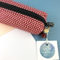 Kimono fabric makeup bag /pouch with beaded tassel- red and white spots