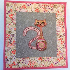 Embroidered  quilted wall hanging, art quilt, elegant cat in pink