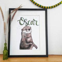 Personalised Otter Print: Framed
