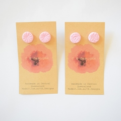 Pale pink polymer clay stud earrings