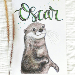 Personalised Otter Print: Unframed