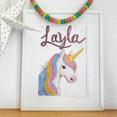 Personalised Rainbow Unicorn Print: Framed