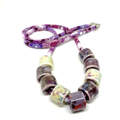Speckled Egg Ceramic Beads on Kimono Cord - Purple