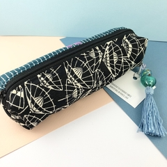 Kimono fabric makeup bag / pencil case with beaded tassel- teal, black and white