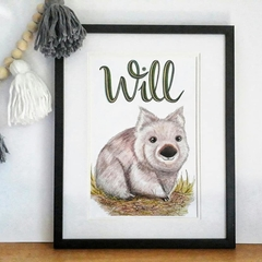 Personalised Wombat Print: Framed