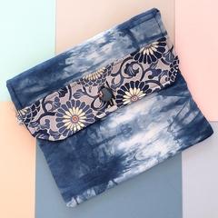 Handcrafted kimono fabric clutch handbag with long strap- indigo, white