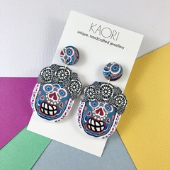 Statement earrings, Handcrafted polymer clay, calavera sugar skulls, Halloween