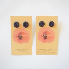 Navy polymer clay stud earrings