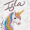 Personalised Rainbow Unicorn Print: Framed
