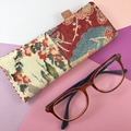 Glasses case, handcrafted Kimono fabric sunglasses red and pink floral