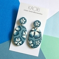 Polymer clay earrings, statement earrings in blue floral