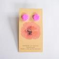 Fuchsia polymer clay stud earrings