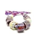 Speckled Egg Ceramic Beads on Kimono Cord - Purple