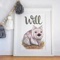 Personalised Wombat Print: Framed