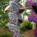 """crochet scarf """"mostly maroon"""" made from wool mohair blend yarn"""